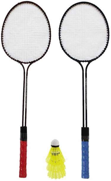 ULTRON Double Shaft Iron Body Pack Of 2 Piece Badminton Racket With 3 Piece Plastic Shuttles Badminton Kit