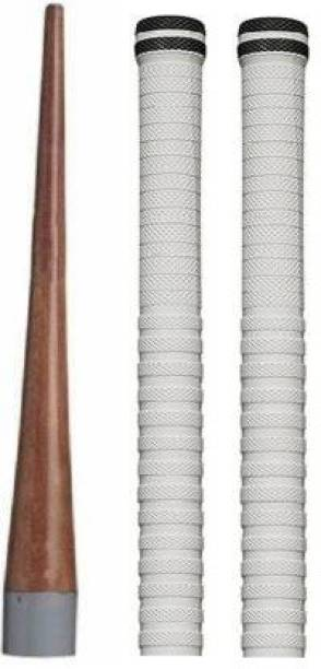 Kiraro Combo Of 1Cricket Bat Handle Gripper With 2Cricket Bat Handle Replacement Grip(Pack Of 3,Black & White) Cricket Kit