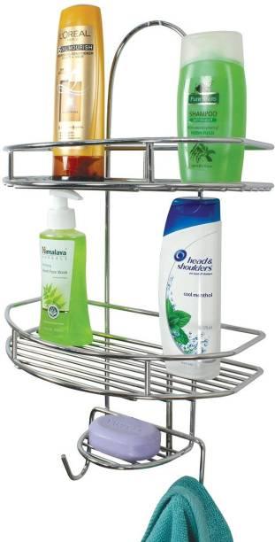 Shengshou Multipurpose Stainless Steel Silver Wall Mounted Bathroom Shelf/Kitchen Shelf/Bathroom Accessories/Wall Shelf Utensil Kitchen Rack