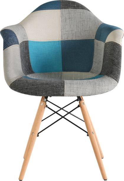 Urbancart Patchwork Side Chair with Padded Seat and Wooden Base for Home, Office, Cafeteria, Restaurant, Lobby- Blue Fabric Living Room Chair