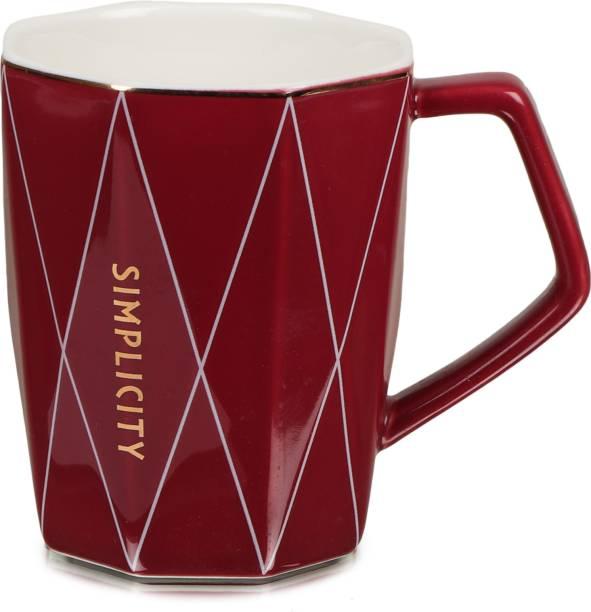 CupShup Ceramic for Coffee/Tea (Microwave Safe; Red; 350 ML) (Simplicity_Red) Ceramic Coffee Mug