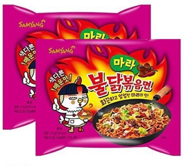 Samyang Hot Chicken Ramen Mala Noodles, 135gm (Pack of 2) (Imported) Instant Noodles Non-vegetarian
