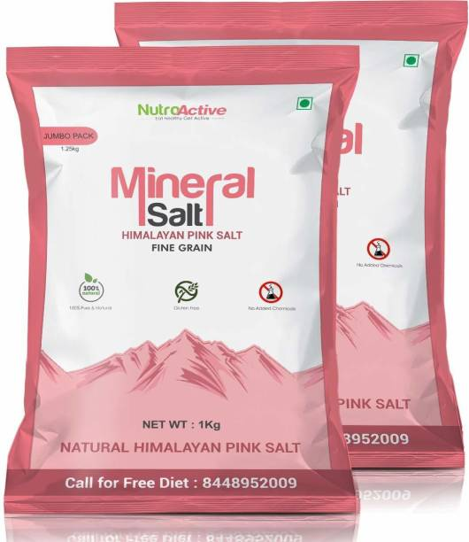 NUTROACTIVE Mineral Himalayan Pink Rock Salt Fine Grain (0.5-1 mm) 1 Kg- Pack of 2 Himalayan Pink Salt