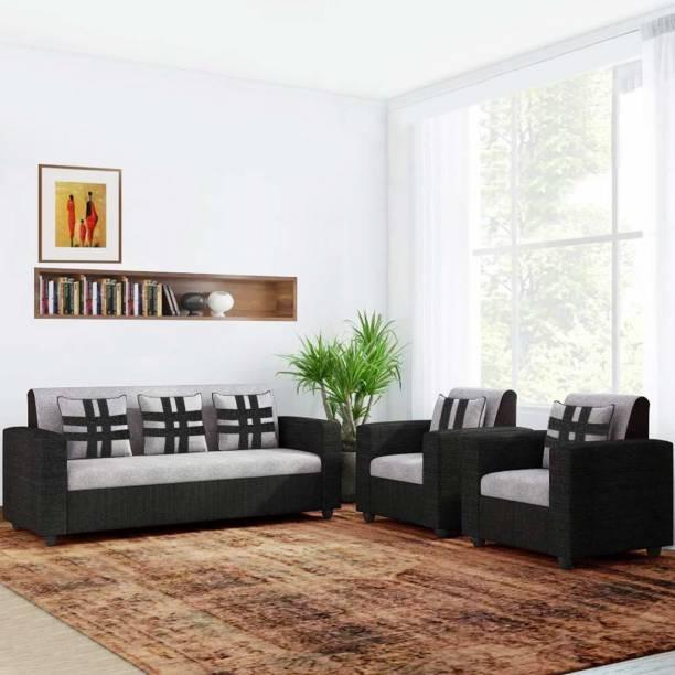 gnanitha Fabric 3 + 1 + 1 grey and blak Sofa Set