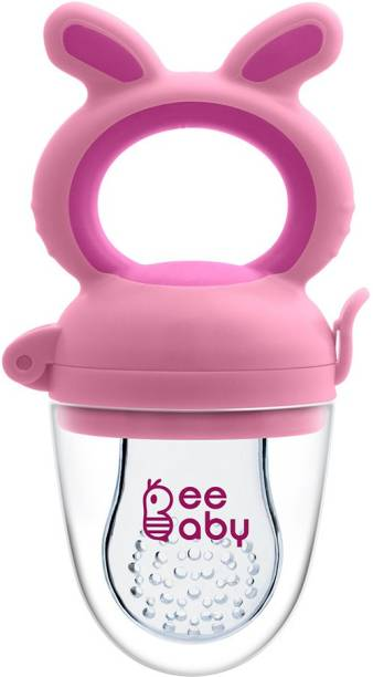 Beebaby Chewy Food & Fruit Silicone Nibbler with Extra Silicone Mesh. 3M+ (Pink) Feeder