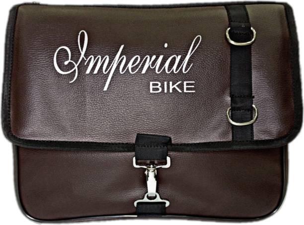 Goldline Stylish Imperial Bike Bag/Motorcycle Seat Pack Bag Side Bag/10L Storage Motorcycle Saddlebag/Leatherette & Water Resistant Portable Bike Bag/Quick Release Buckles- Brown (14 x 6 x 12 inch) One-side Brown Fabric Motorbike Saddlebag