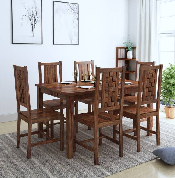 Home Edge Weave Solid Wood 6 Seater Dining Set   Finish Color   Teak