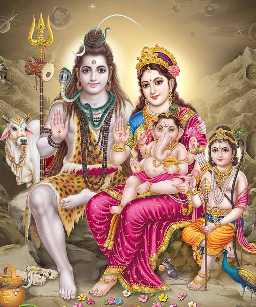Lord Shiva Family Wall Poster | Lord Shivaji HD Poster for room decor Photographic Paper
