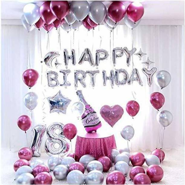 CherishX.com Solid Party Decorations for Birthday Kit with High Quality Chrome Balloons, Moon, Star and Champagne Foil Balloons for Girls Birthday Decoration Balloon