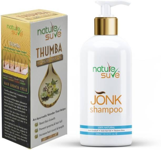 Nature Sure Combo - Thumba Wonder Hair Oil 110ml & Jonk Shampoo Hair Cleanser for Men & Women 300ml