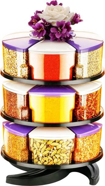 Flipkart SmartBuy 360° Revolving Spice Rack Masala Rack 3Spice Box Masala Box Masala Container Condiment set of 18  - 250 ml Plastic Grocery Container