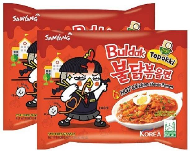 Samyang Hot Chicken Flavour Ramen Toppakki-140 gm (Pack of 2) (Imported) Instant Noodles Non-vegetarian