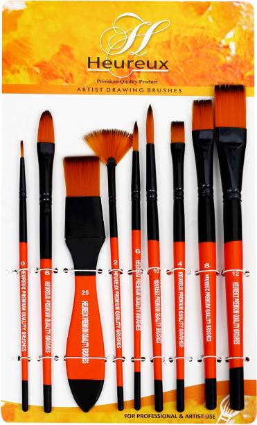 HEUREUX paint brushes set of 9 brushes
