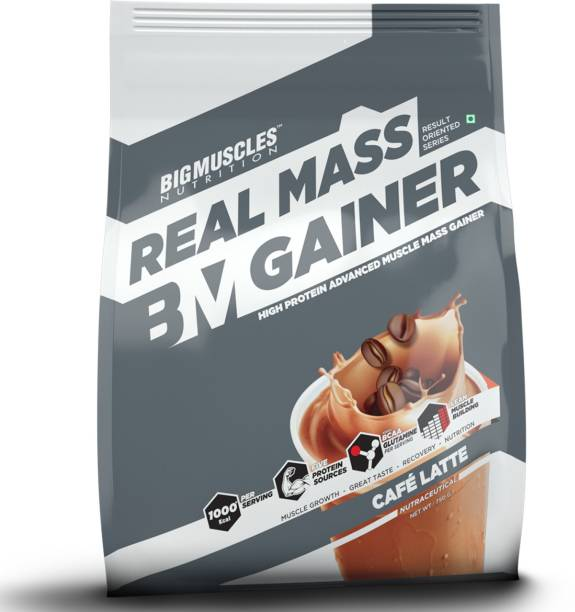 BIGMUSCLES NUTRITION Real Mass Gainer, Lean Whey Protein Muscle Mass Gainer, 1000 Calories Per Serving Weight Gainers/Mass Gainers