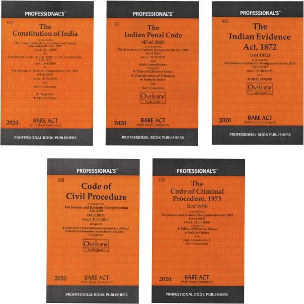 Combo Of 5 Books The Constitution Of India , The Indian Penal Code ,The Evidence Act 1872, The Code Of Criminal Procedure 1973, The Code Of Civil Procedure 1908 Bare Act With State Amendments And Short Comments (Paperback In English By Professional)