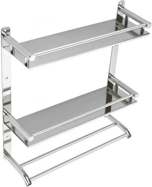 CloutDap Double shelf with towel rod Silver Towel Holder