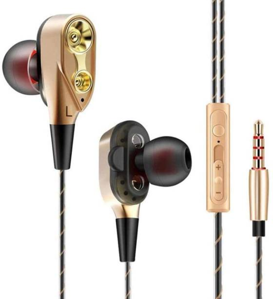 Optima DOUBLE SPEAKER GOLDEN EARPHONE Wired Headset