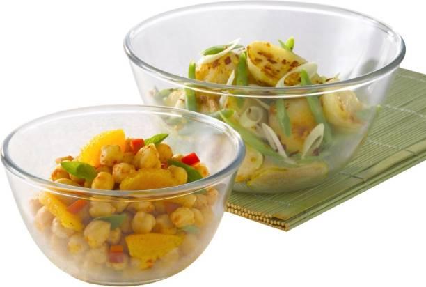 BOROSIL Mixing Bowl Sets-1.3 L +1.7 L Glass Serving Bowl