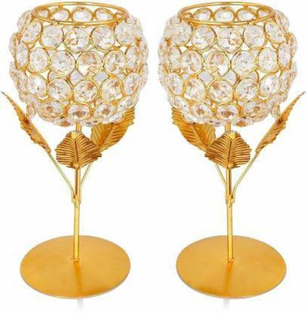 decorate india Gold Floral Gold Plated 2 - Cup Tealight Holder Set (Gold, Pack of 2) Cast Iron Candle Holder Set