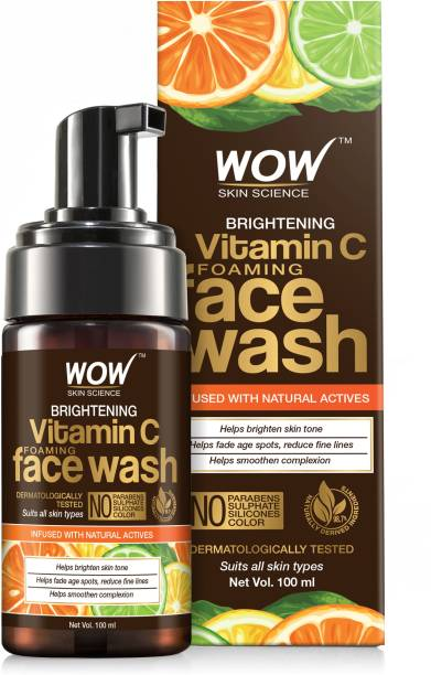 WOW SKIN SCIENCE Brightening Vitamin C Foaming  - with Lemon & Orange Essential Oils - For Skin Brightening - No Parabens, Sulphate, Silicones & Color - 100 ml Face Wash