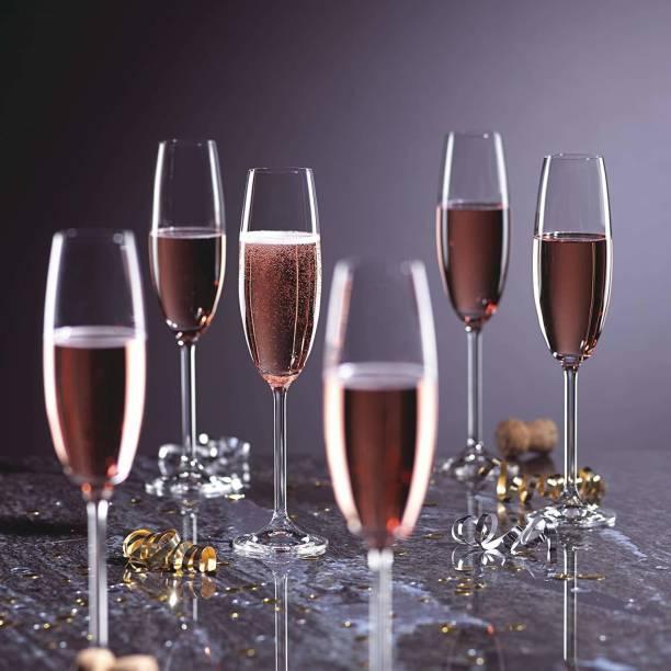 BRIGHTLIGHT (Pack of 6) Classic Tulip Champagne/Wine Glasses Set of 6 - 180 ml Glass Set