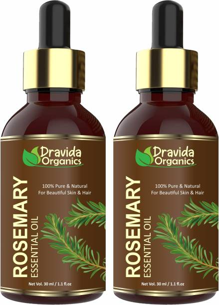 Dravida Organics Rosemary Essential Oil (Pure & Natural) For Beautiful Skin & Hair Growth (Pack of 2) Hair Oil