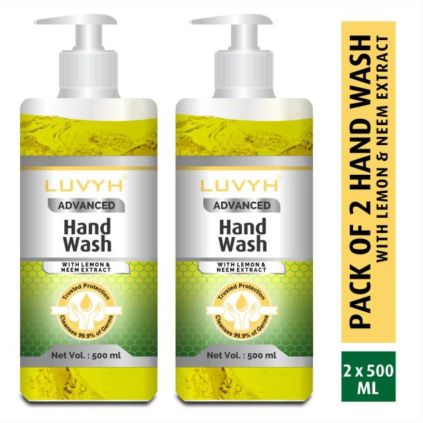 LUVYH Hand Wash with Neem & Lemon Extract For Complete Protection|Cleanses 99.9% of Germs - Pack of 2x500 ml Hand Wash Pump Dispenser