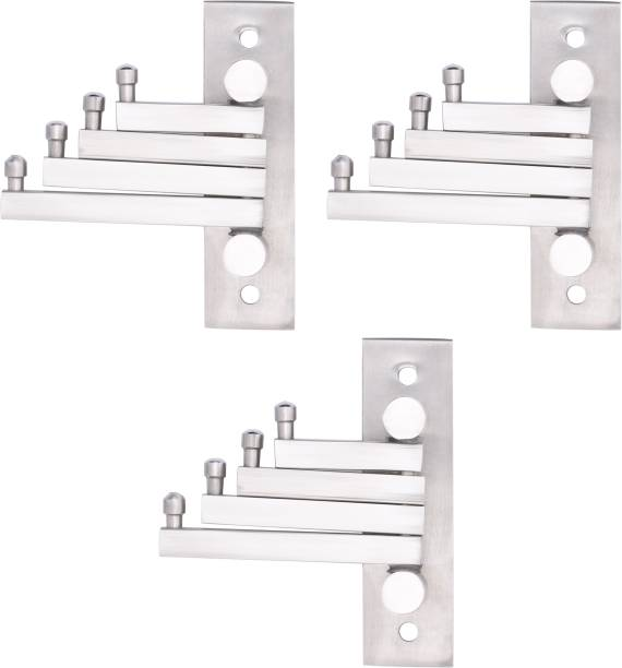 Flipkart SmartBuy Pack Of 3 -Flexible Square Stainless Steel Cloth Hanger Bathroom Wall Door Hooks For Hanging keys,Clothes,towel Swivel Hook