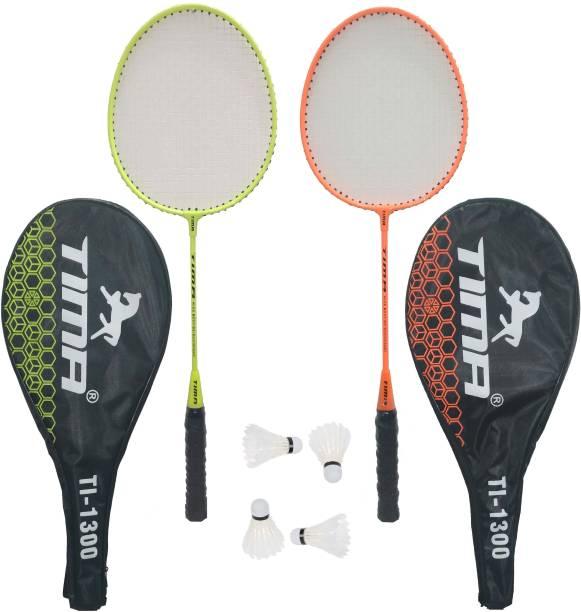 TIMA 2 Player Badminton Racquets Set Double Rackets Badminton Kit Badminton Kit