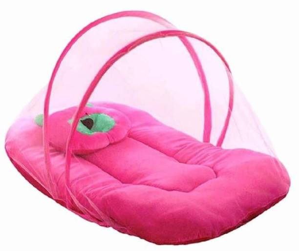 SINGHS VILLAS DECOR Fibre Infants Little Baby Bed with mosquito net for new born | Baby Pillow | Polyester | Foldable mattress | Pink Standard Crib (Fabric, Pink) Mosquito Net