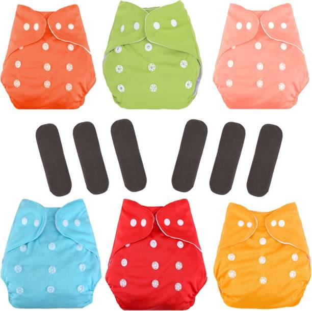 CuidAdo All in One Washable Reusable Adjustable Cloth Diapers with 4 Layer Bamboo Charcoal Insert (6 Diapper + 6 Insert)