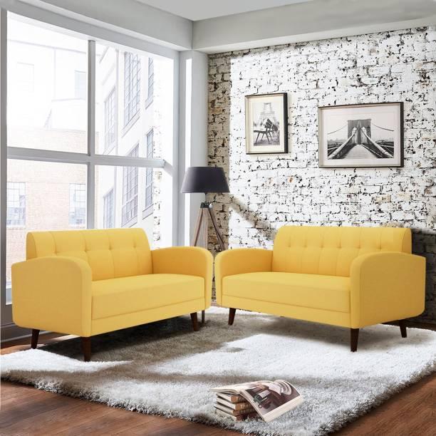 ARRA Rome Tufted Back Fabric 3 + 2 Yellow Sofa Set