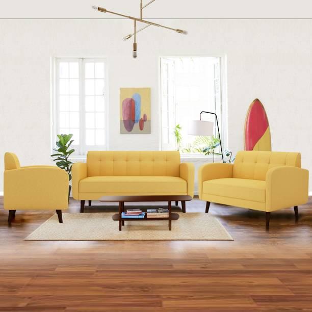 ARRA Rome Tufted Back Fabric 3 + 2 + 1 Yellow Sofa Set