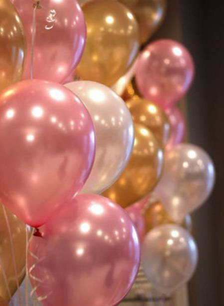 Party Hub Solid 10 Inches Metallic Balloons, Pink Gold & White(Pack of 50) Balloon