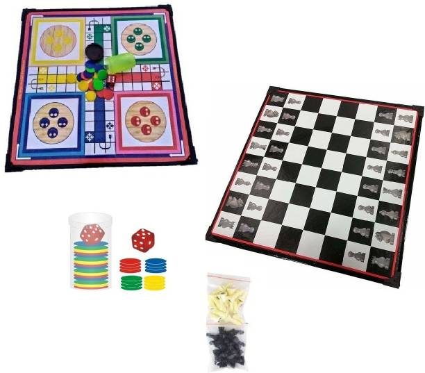 VJOY Wooden Ludo & Chess Board 2 in 1 with Coins ( 12 x 12 Inches ) Strategy & War Games Board Game Strategy & War Games Board Game