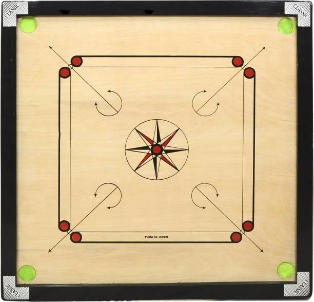gamers hub Premium 32inch Round Pocket Carrom Board with Wooden Coins ,Striker & Disco powder 3.81 cm Carrom Board