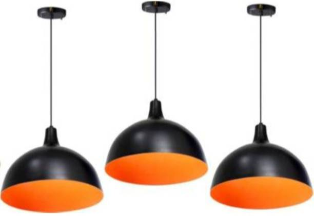 LazyHomez Aluminium Made Orange Pendant Hanging Light Ceiling Lamp (Set of 3) Pendants Ceiling Lamp
