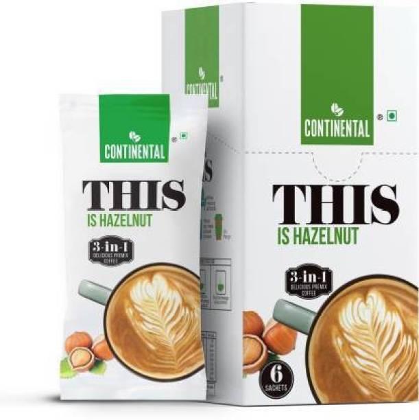 CONTINENTAL THIS 3 in 1 Premix Coffee 22gm*6- Hazelnut Coffee-132gm Instant Coffee