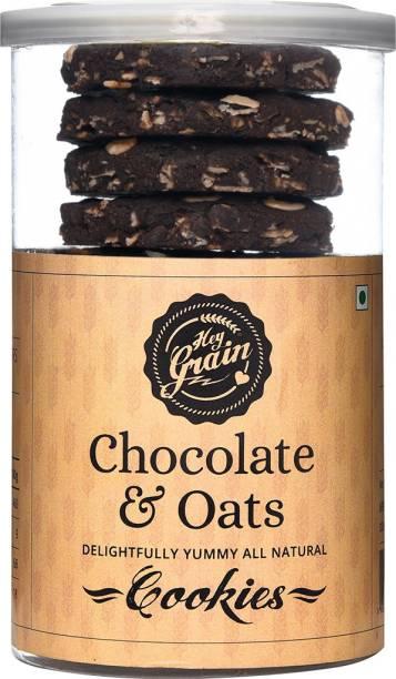 Hey Grain Chocolate & Oats Cookies (Whole Grain Wheat Flour,Rolled Oats,Cocoa Powder,Choco Chips,Canola Oil,Milk,Demerera Sugar,Salt,Baking Powder) Cookies