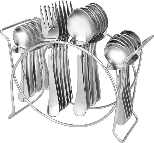 Parage Aura Stainless Steel Cutlery Set- Set of 25 (Contains: 6 Table Spoons, 6 Forks, 6 Tea Spoons, 6 Master Spoons, 1 Stand) Stainless Steel Cutlery Set