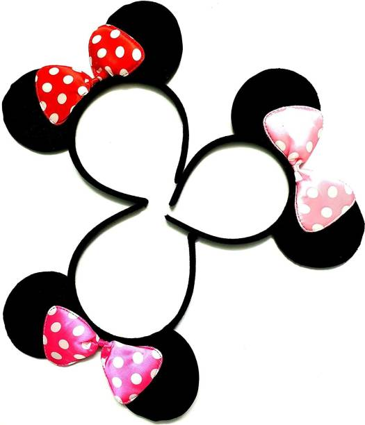 Anjali collection kids baby girls MOUSE EAR headbands hair accessories set 0f 3 Hairband-multi colour Head Band