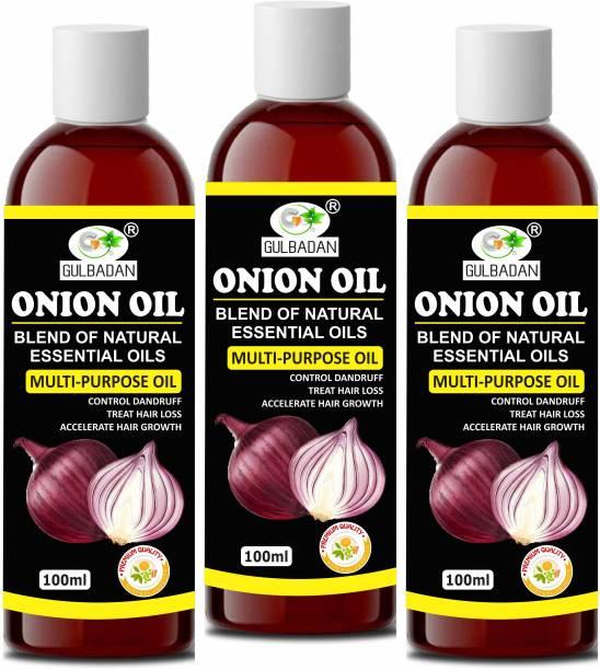 GULBADAN Onion Herbal Hair Oil Preventing Hair Loss & Promoting Hair Growth Hair Oil (Pack of 3) Hair Oil