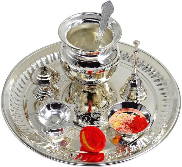 ME&YOU Silver Plated Puja Thali with Rali Chawal and Kalawa, For Diwali Pooja| Dhanteras | Navratras | Bhaidooj | Durga Pooja Steel