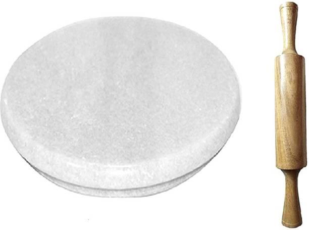 manbhar Marble Chakla/Rolling Board/Roti Maker (Premium Finish) (White + Wooden Belan,) 9 Inch Rolling Pin & Board