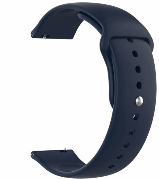 Big Wings Soft Silicone 20 mm Band Strap Compatible for Active (40 mm, 42 mm) / Gear S2 Classic / Fossil Q Gazer / Amazfit GTS / Moto 360 2nd Generation & Any Smart Watch with 20 mm Lugs (Navy Blue) (Watch Not Included) Smart Watch Strap