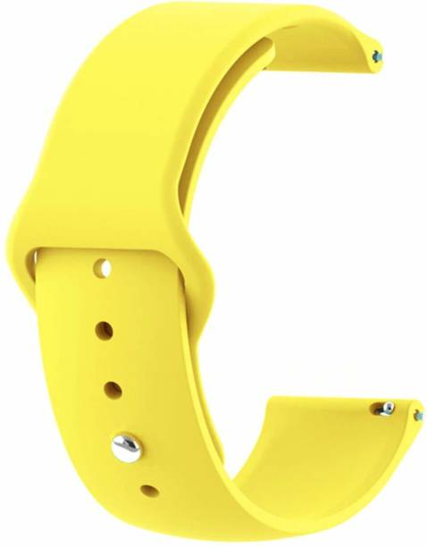 Big Wings Soft Silicone 22 mm Band Strap Compatible for Samsung Galaxy LTE 46 mm / Noise Colorfit Pro 2 / Fitbit Versa / Versa 2 / Fossil Gen 5 Carlyle / Amazfit GTR & Any Smart Watch with 22 mm Lugs (Yellow) (Watch Not Included) Smart Watch Strap