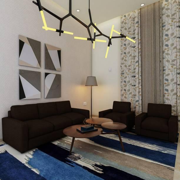 METSMITH Sandon Fabric 3 + 1 + 1 Dark Brown Sofa Set