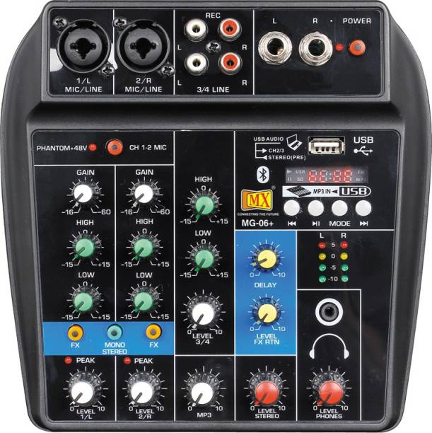 MX 4 Channels Audio Mixer Sound Mixing Console with Bluetooth USB Record 48V Phantom Power Monitor Paths Plus Effects Use for home music production, webcast, K song Analog Sound Mixer