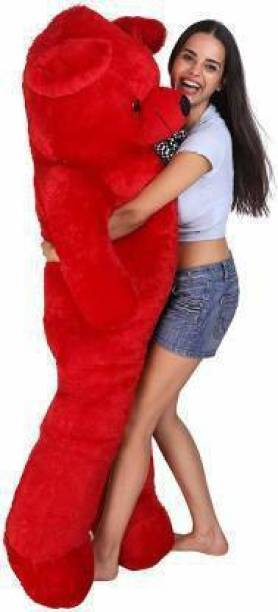 Belwa Soft Teddy Bear 3 feet Stuffed Animals Plush Toy Doll for Girlfriend Children Pink (90 cm) - RED  - 90 cm