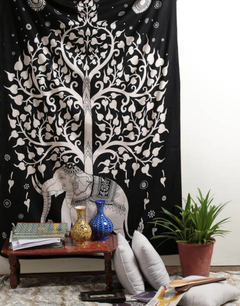 Magical Floral Magical Floral Tapestry Tie Dye Tree on Elephant Tapestry